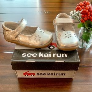 SEE KAI RUN SILVER MARYJANES LEATHER SHOES FLOWERS